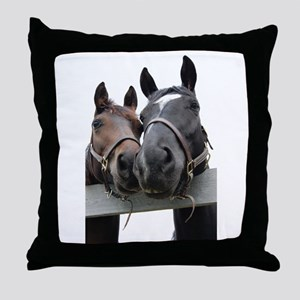 Kissing Horses Throw Pillow