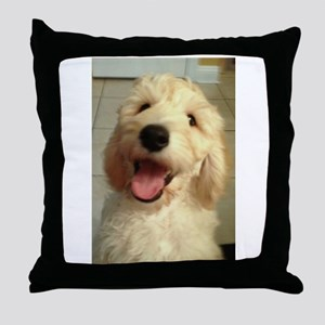 Happy Goldendoodle Throw Pillow