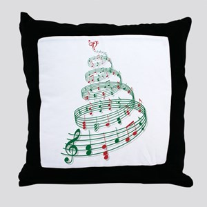 Christmas tree with music notes and heart Throw Pi