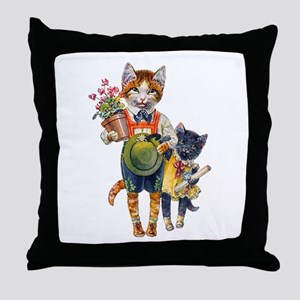 Cute Cats Bearing Gifts Throw Pillow