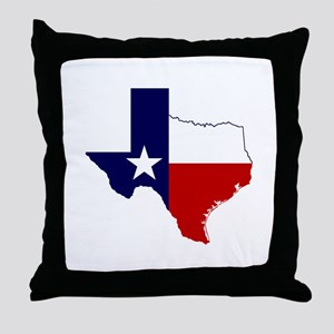 Texas Flag on Texas Outline Throw Pillow