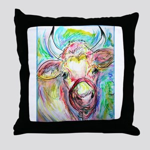 Cow, colorful, art, Throw Pillow