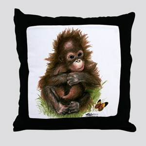 Orangutan Baby and Butterfly Throw Pillow