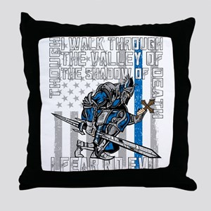 I Fear No Evil Police Crusader Throw Pillow