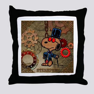 Steampunk Snoopy Throw Pillow