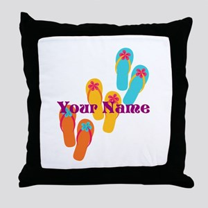 Personalized Flip Flops Throw Pillow