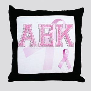 AEK initials, Pink Ribbon, Throw Pillow