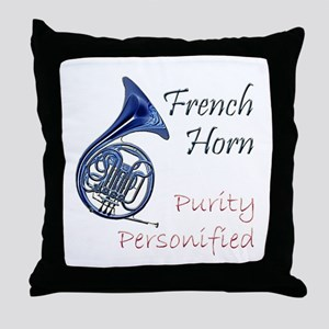 French Horn Throw Pillow