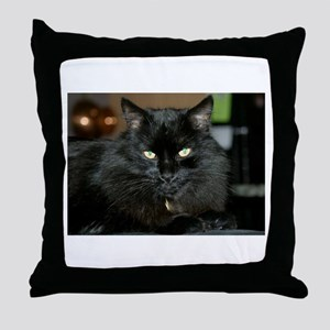 Charlie the black Maine Coon Cat Throw Pillow