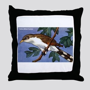 Yellow-Billed Cuckoo Bird Throw Pillow