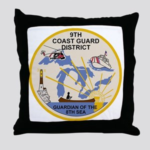 USCG-9th-CGD-Patch Throw Pillow