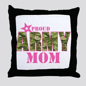 Camo Proud Army Mom Throw Pillow
