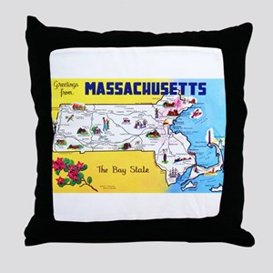 Massachussetts Map Greetings Throw Pillow
