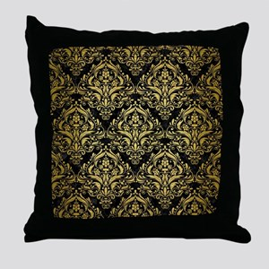 DAMASK1 BLACK MARBLE & GOLD BRUSHED M Throw Pillow