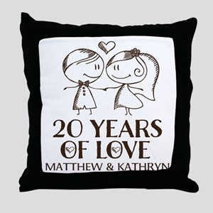 20th Wedding Anniversary Personalized Throw Pillow