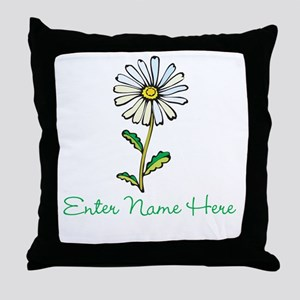 Personalized Daisy Throw Pillow