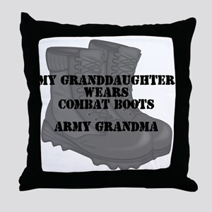 Army Grandma Granddaughter Combat Boots Throw Pill