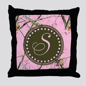 Pink woodland camo Custom Throw Pillow