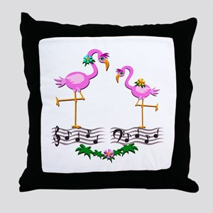 Dancing Pink Flamingos - Throw Pillow