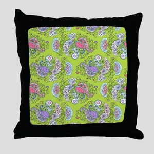 Paisley Doodles Lime Throw Pillow
