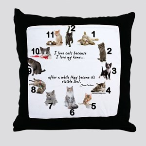 WALL CLOCK - Cat Throw Pillow