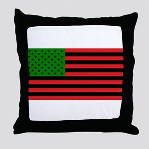 African American Flag - Red Black and Throw Pillow