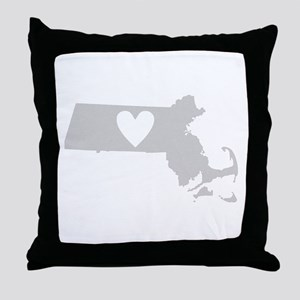 Heart Massachusetts Throw Pillow