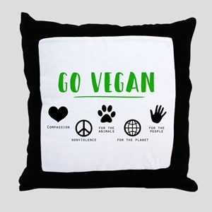 Go Vegan Throw Pillow