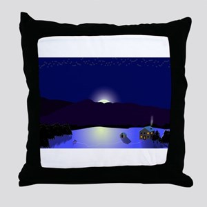 Vermont Winter Scene Throw Pillow