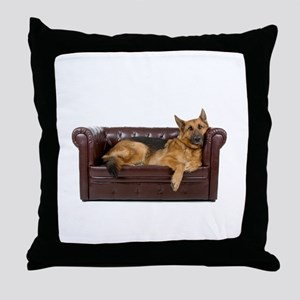 GERMAN SHEPHERD ON COUCH Throw Pillow