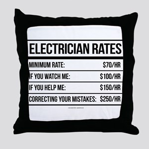Electrician Rates Humor Throw Pillow