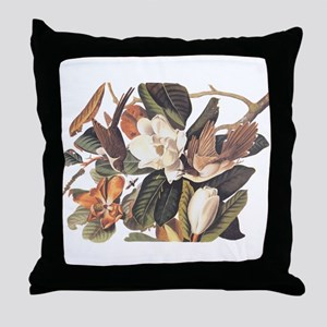 Black Billed Cuckoo Birds of America Throw Pillow