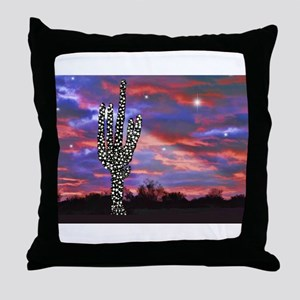 Christmas Lights Saguaro Cactus Silho Throw Pillow