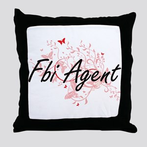 Fbi Agent Artistic Job Design with Bu Throw Pillow