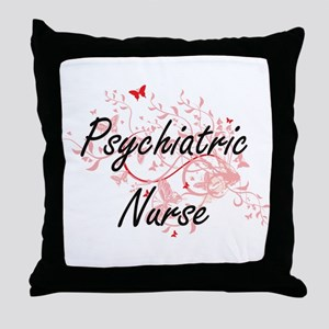 Psychiatric Nurse Artistic Job Design Throw Pillow
