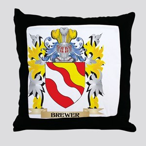 Brewer Coat of Arms - Family Crest Throw Pillow