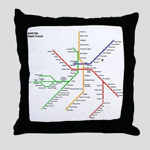 Boston Rapid Transit Map Subway Metro Throw Pillow