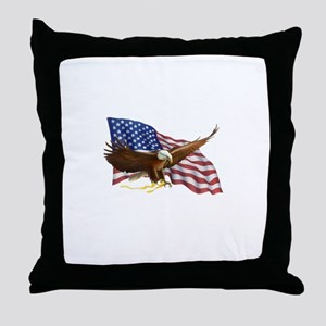 American Flag and Eagle Throw Pillow