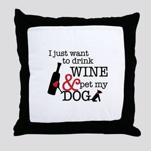 Wine and Dog Throw Pillow