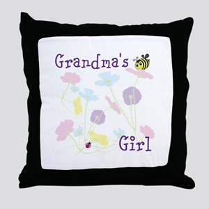Flower Bees and Lady Bug Throw Pillow