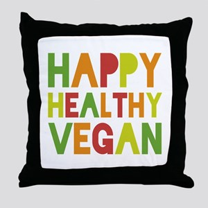 Happy Vegan Throw Pillow