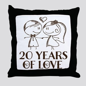 20th Anniversary chalk couple Throw Pillow