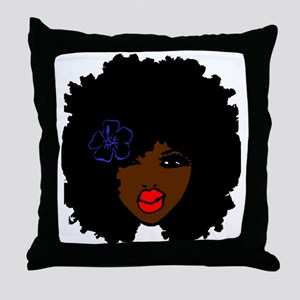 BrownSkin Curly Afro Natural Hair???? Throw Pillow