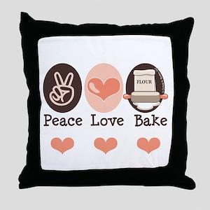 Peace Love Bake Bakers Baking Throw Pillow
