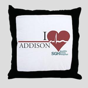 I Heart Addison - Grey's Anatomy Throw Pillow