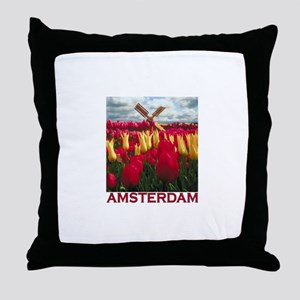 Amsterdam Tulips Throw Pillow
