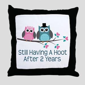 2nd Anniversary Owls Throw Pillow