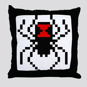 Pixel Black Widow Spider Throw Pillow