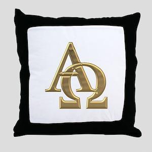 """""""3-D"""" Golden Alpha and Omega Symbol Throw Pillow"""