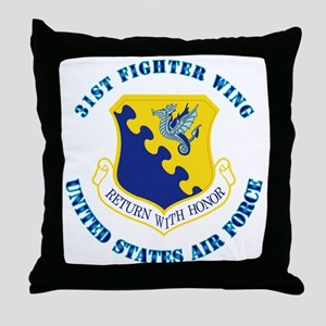 31st Fighter Wing with Text Throw Pillow